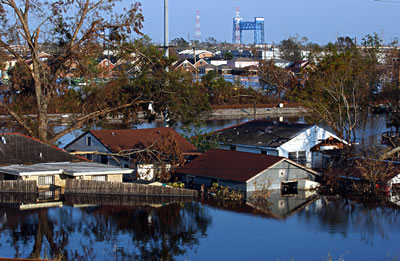 Flooding in Lousiana after Hurricane Katrina, 2005