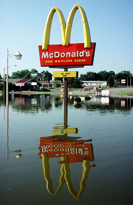 McDonald's under water after flooding from the Mississippi river in Festus, Missouri, in July of 1993.