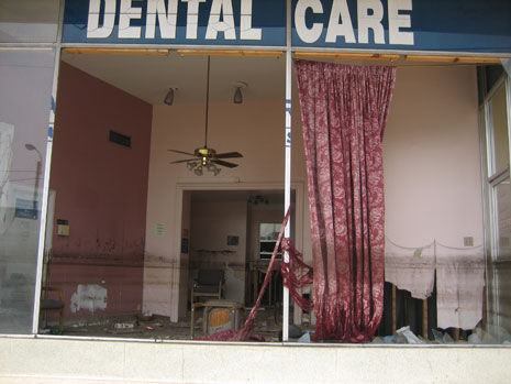 New Orleans after Hurricane Katrina, on May 2006: Dentist's place of business in formerly flooded Mid City neighborhood.