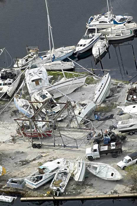 Punta Gorda, FL, Aug. 16, 2004 -- Aerial image of destroyed boats in Punta Gorda, following hurricane Charley. FEMA Photo/Andrea Booher