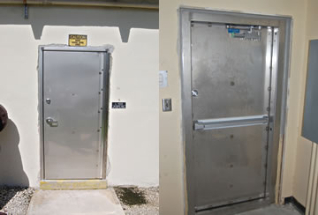 Pedestrian flood door, inside and outside views