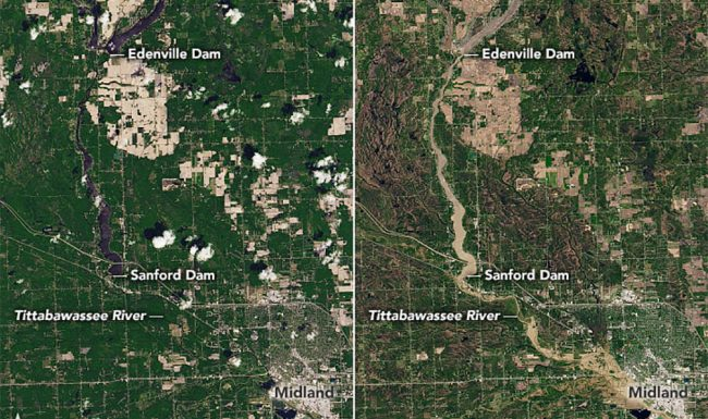 Flooding in Midland, Michigan, May 2020