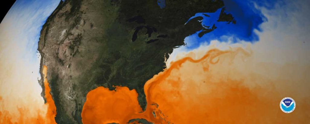 Graphic visualization map of Gulf Stream seen through sea surface temperature created by NOAA NESDIS