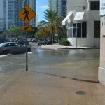 Sunny day high tide flooding in Miami, Florida