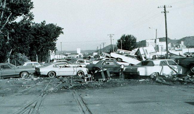 Aftermath of the flash flood of June 9-10, 1972, Rapid City, South Dakota.